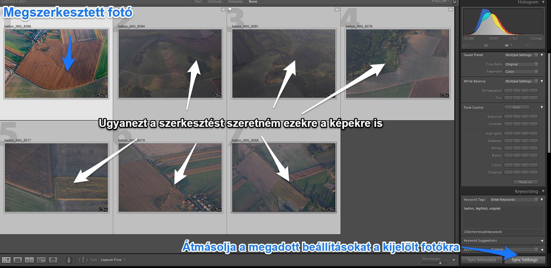 Egy fotó szerkesztési beállításait könnyedén átmásolhatjuk tetszőleges számú más fotóra