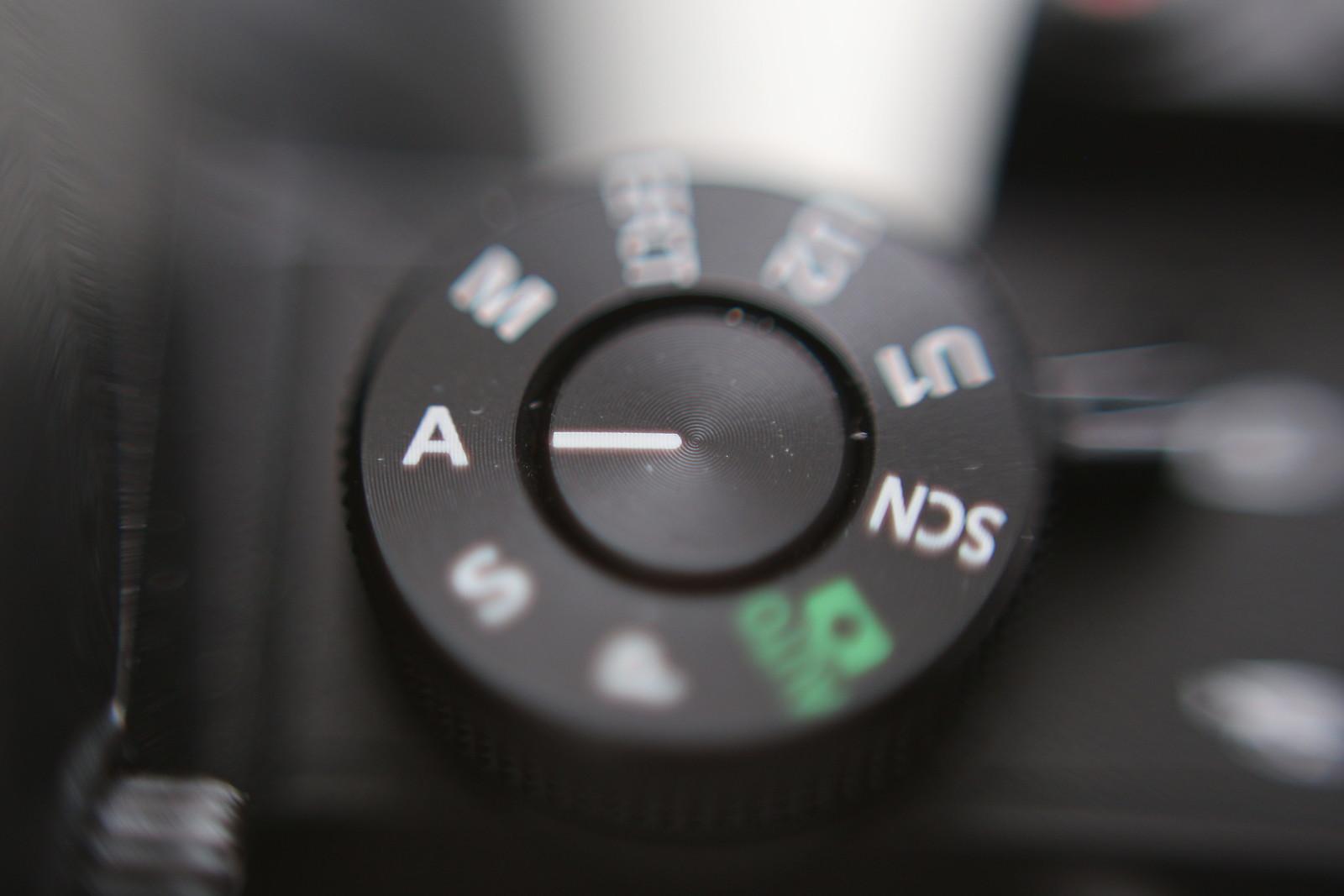 Nikon A mód rekesz blende előválasztás módtárcsa