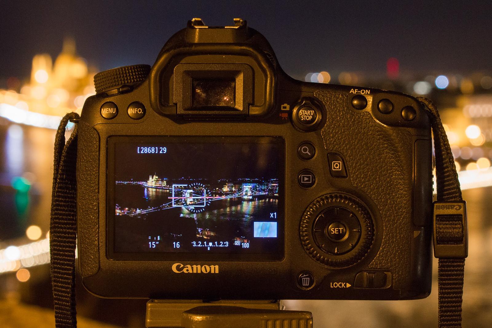 Éjszakai fotózás Canon DSLR Élőképpel