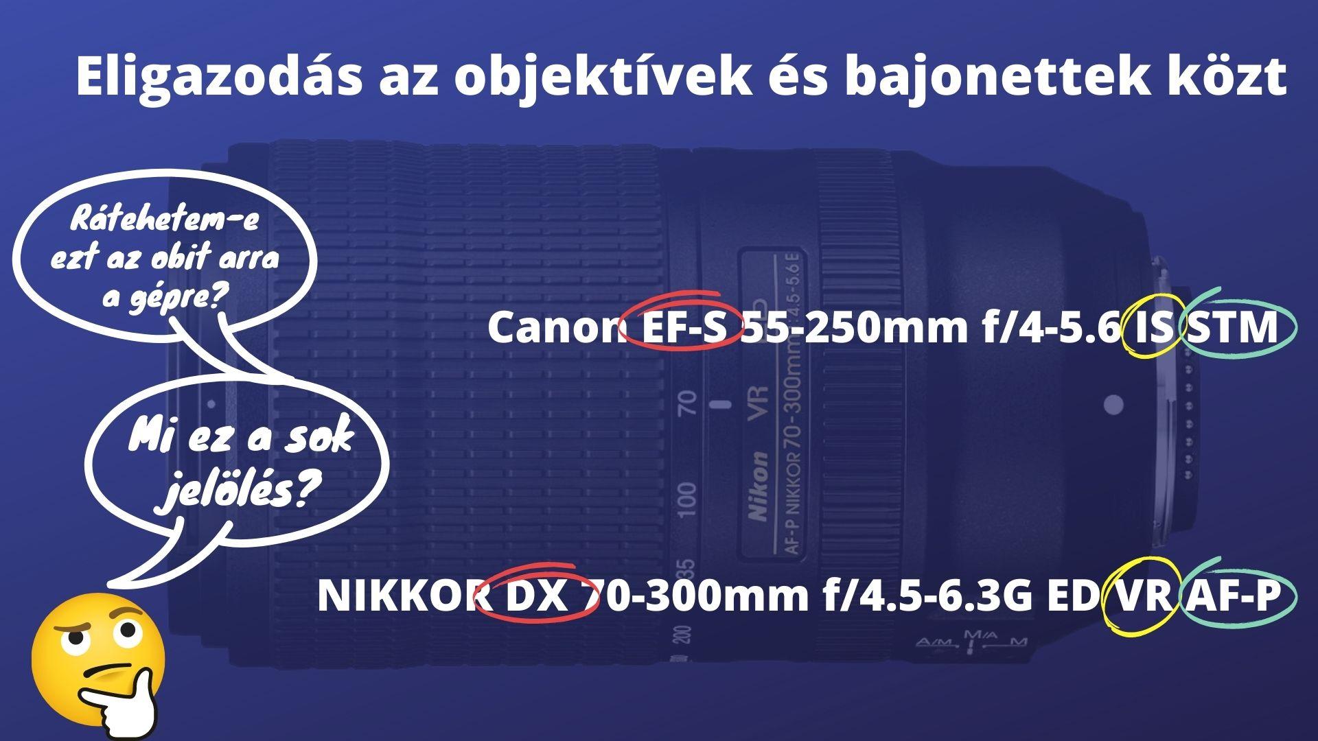 Eligazodás a Nikon Canon objektívek bajonettek jelölései közt